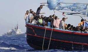 Migrants being rescued in the Mediterranean