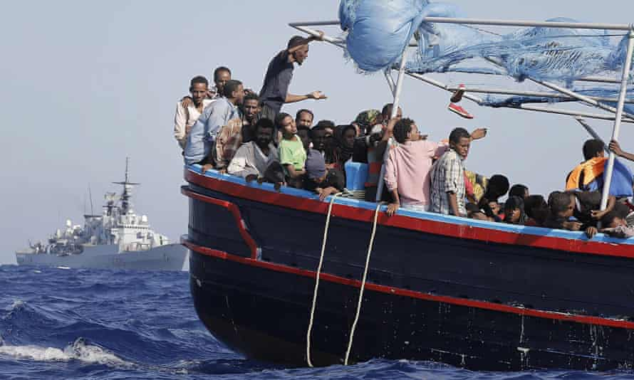 Migrants being rescued in the Mediterranean