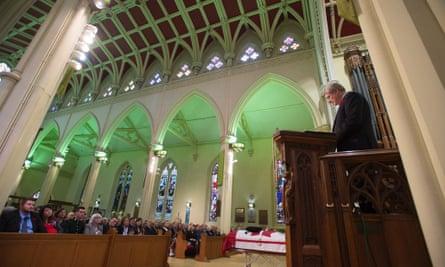Canadian Prime Minister Stephen Harper speaks at the regimental funeral service for Cpl Nathan Cirillo.