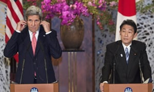 US secretary of state John Kerry, left, and Japanese foreign minister Fumio Kishida lsaid their countries are committed to new talks with North Korea if the reclusive communist government begins abiding by previous agreements on its nuclear programme.