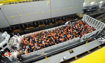 Around 250 migrants from Sub-Saharian areas are hosted on a landing craft of Italy's Navy ship San Giorgio.