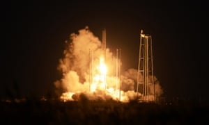 An unmanned Orbital Sciences Corp.'s Antares rocket headed for the International Space Station lifts off from the Wallops flight facility shortly before exploding.