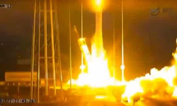 A Nasa A TV image shows the Antares rocket taking off.