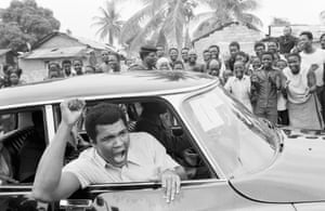 Muhammad Ali on a sightseeing tour in downtown Kinshasa, the venue for the fight