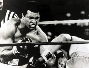 In the eighth round Ali pounced landing several right hooks over Foreman's jab followed by a five punch combination