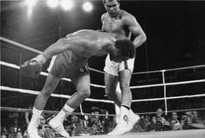The combo culminated in a left hook that brought Foreman's head up into position and a hard right straight to the face caused the champion to stumble to the canvas