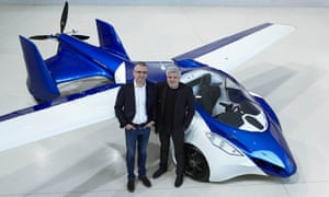 Vaculik and Klein with flying car