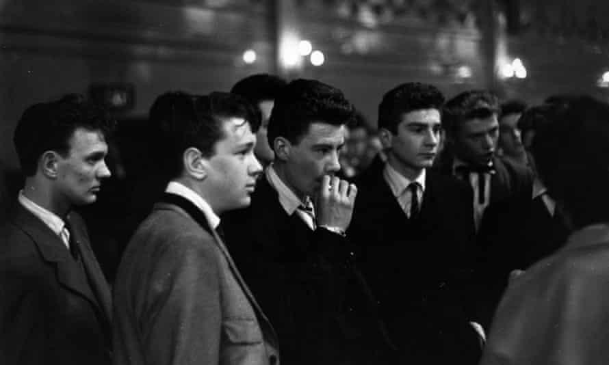 Teddy boys at the Mecca Dance Hall in Tottenham, London, 1954.