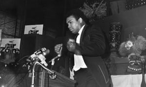 Muhammad Ali reacts during a New York press conference promoting the upcoming fight against George Foreman in May1974.