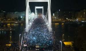 Demonstration against proposed Internet Tax, Budapest, Hungary - 28 Oct 2014
