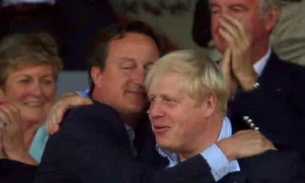 David Cameron hugs Boris Johnson