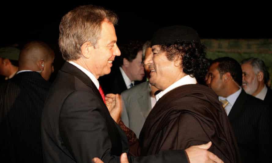 Tony Blair embraces Colonel Gaddafi in Libya in 2007