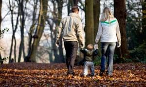 family walk in park