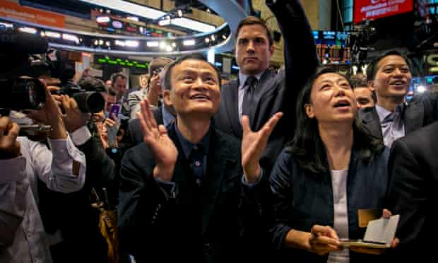 Alibaba founder Jack Ma trading at the NYSE in New York