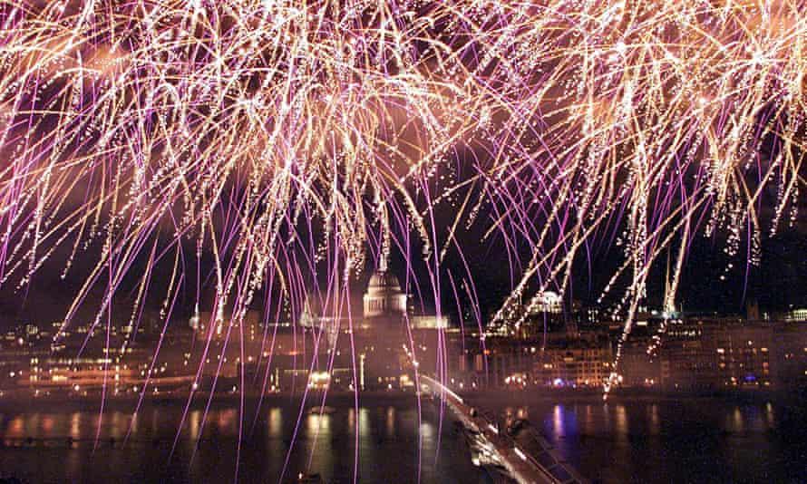 fireworks over millenium bridge