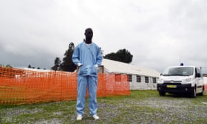 A health worker at an Ebola treatment unit in Abidjan in the Ivory Coast