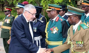 Guy Scott greets defence and security chiefs