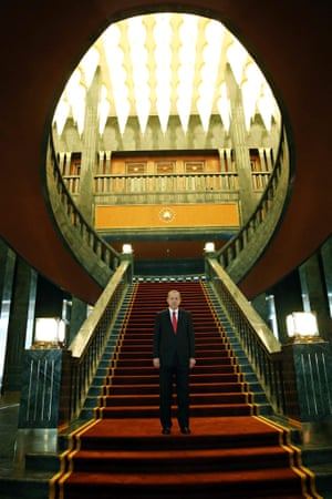 Turkish President Recep Tayyip Erdogan unveils the new presidential palace prior to an official ceremony for Republic Day in Turkey.