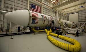 The Orb-3 mission's payload fairing (the casing around the spacecraft) on Orbital Sciences Corp's Antares rocket.
