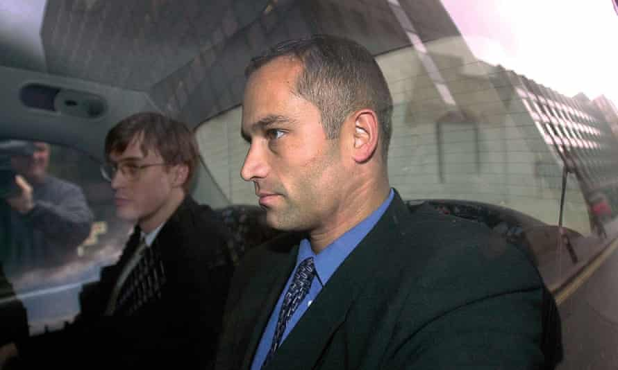 Richard Kaul leaving the General Medical Council in London in January 2002 after being struck off its register