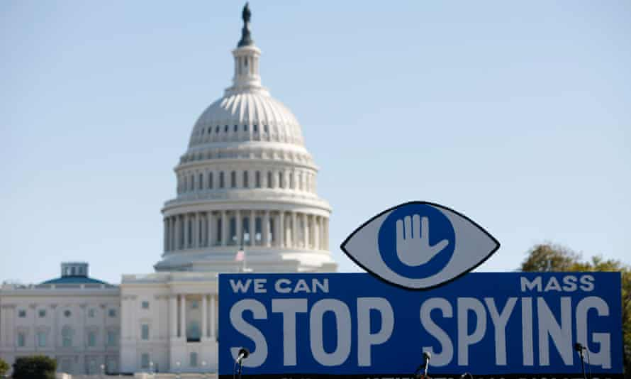 A protest against government surveillance in Washington DC