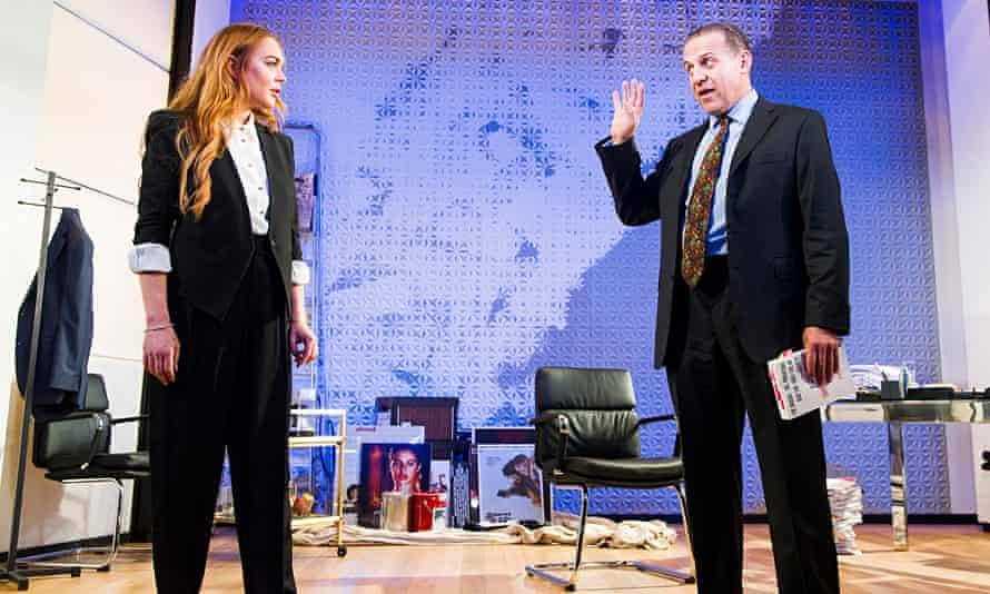 Lindsay Lohan as Karen and Nigel Lindsay as Charlie Fox in Speed-the-Plow