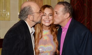 Richard Schiff, Lindsay Lohan and Nigel Lindsay attend the after party for Speed the Plow.