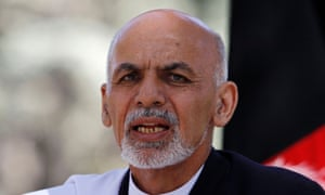 Ashraf Ghani speaks during the news conference in Kabul.