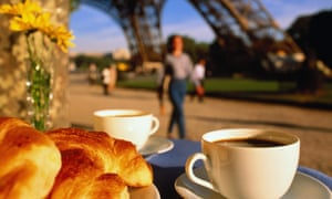 A typical French breakfast under the Eiffel tower.