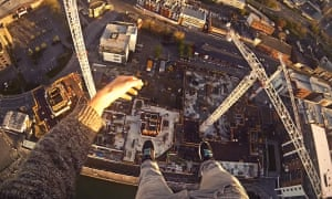 free runner James Kingston's first-person footage of himself climbing a crane in Southampton