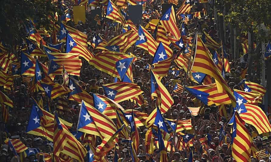 Catalan flags fly in the streets of Barcelona, ahead of a referendum on independence that the Madrid