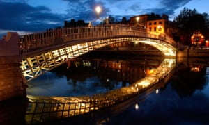 Ha'penny Bridge over the River Liffey in Dublin.