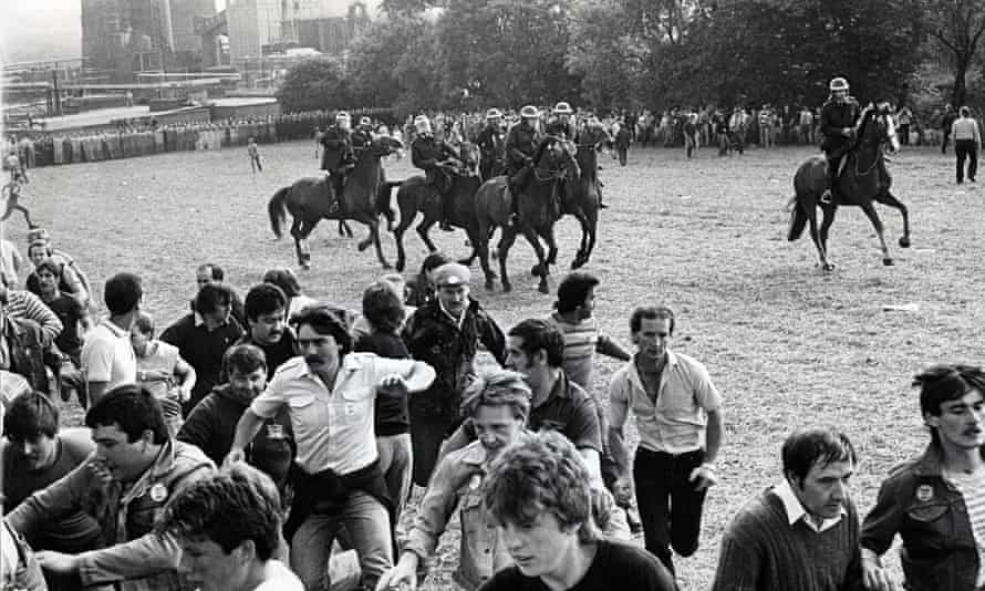 Confrontation between riot police and miners at the Orgreave coke works in South Yorkshire June 1984