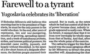 Guardian leading article, Milosevic regime crumbles in Serbia, 6 October 2000