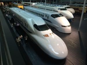 '4 generations of shinkansen on display at the Nagoya train museum.'