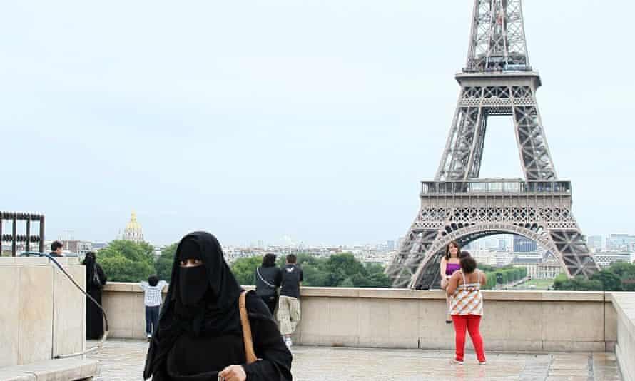 Muslim woman wearing the burqa in Paris