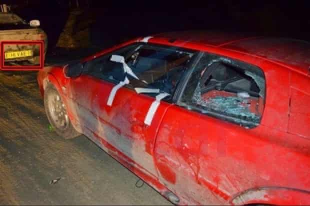Damaged Top Gear car in Argentina with Falklands number plates
