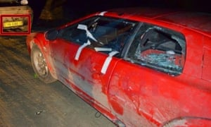 A Top Gear car after it was pelted with stones in Argentina.
