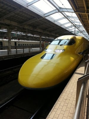 'Doctor Yellow', spotted in Okayama Station. 'Doctor Yellow is a test train for Shinkansen that monitors and diagnoses condition of Shinkansen track and electrical wires. There is a saying happiness visits when one sees Doctor Yellow.'