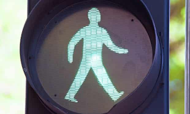 The Green Man on a pedestrian crossing