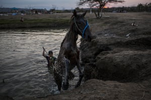 A child jockey leads a horse out of the water after being given a bath before the traditional horse races at the Moyo festival in Sumbawa Island, Indonesia