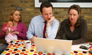 Mumsnet founders Carrie Longton (left) and Justine Roberts with David Cameron in 2006.