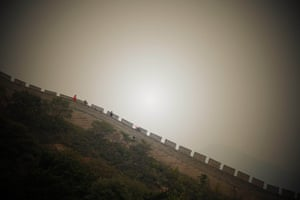 Tourists walk on the Great Wall in Beijing during the week-long Chinese National Day holiday