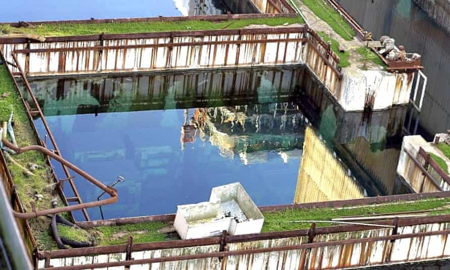 A pond containing spent nuclear fuel rods at Sellafield