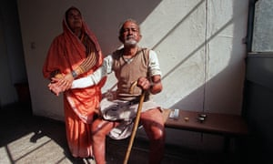 An Indian man waits for leprosy treatment