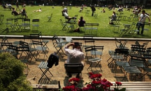 A sunny day in Bryant Park, New York.