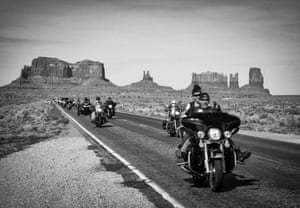 This photo was shot just as I was driving out of Monument Valley, I had pulled over to take some photos when a stream of bikers came motoring down the road.
