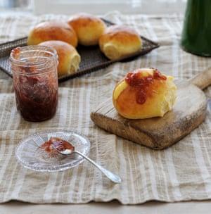 Ruby's rhubarb and vanilla jam split buns. Yum