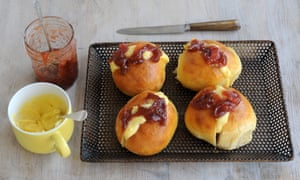 Ruby's rhubarb and vanilla jam split buns. Yum.