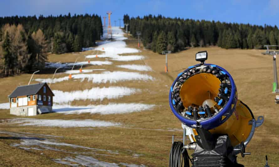 A snow cannon in Oberwiesenthal, Germany.
